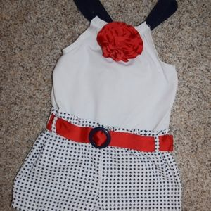 Red, white, and blue girl's romper